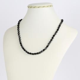 Naszyjnik perła czarna szlifowana - 45cm PER414