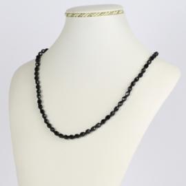 Naszyjnik perła czarna szlifowana - 60cm PER416