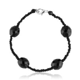 Bransoletka perła czarna szlifowana - PEB36