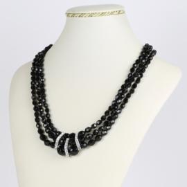 Naszyjnik perła czarna potrójna 50cm PER421