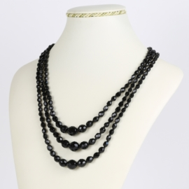 Naszyjnik perła czarna potrójna 50cm PER422