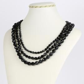 Naszyjnik perła czarna potrójna 50cm PER423