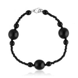 Bransoletka perła czarna szlifowana - PEB43