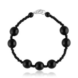 Bransoletka perła czarna szlifowana - PEB44