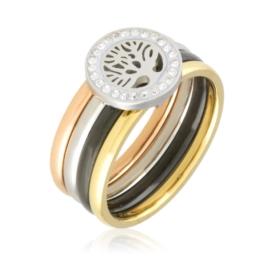 Pierścionek ceramiczny + stal - Xuping PP2371
