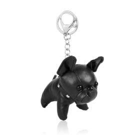 Brelok piesek bulldog - czarny 12cm PU222