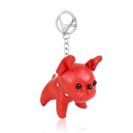 Brelok piesek bulldog - czerwony 12cm PU223