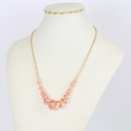 Naszyjnik - różowe szlifowane koraliki - NA1564