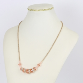 Naszyjnik - różowe szlifowane koraliki - NA1566