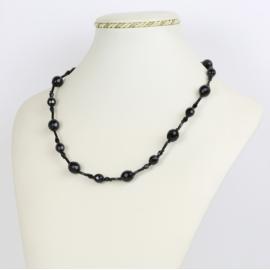 Naszyjnik perła czeska czarna - PER428