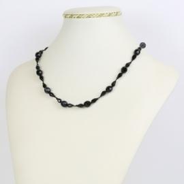 Naszyjnik perła czeska czarna - PER429