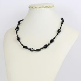 Naszyjnik perła czeska czarna - PER431