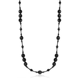 Naszyjnik perła czeska czarna - PER432