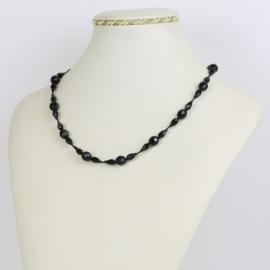Naszyjnik perła czeska czarna - PER433