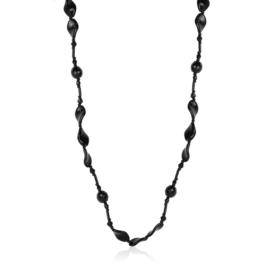 Naszyjnik perła czeska czarna - PER434