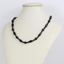 Naszyjnik perła czeska czarna - PER435