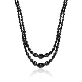 Naszyjnik podwójny perła czeska czarna - PER436