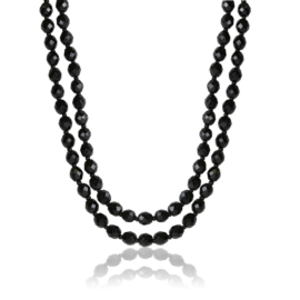 Naszyjnik podwójny perła czeska czarna - PER437