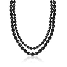 Naszyjnik podwójny perła czeska czarna - PER438