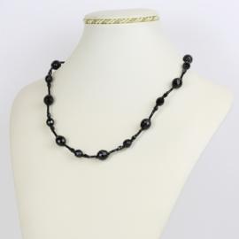 Naszyjnik perła czeska czarna - PER439