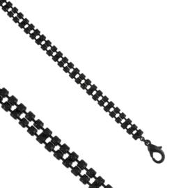 Bransoletka dżetowa - 2-rzędowa - BRA1411