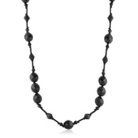 Naszyjnik perła czeska czarna 80cm - PER442