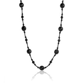 Naszyjnik perła czeska czarna 80cm - PER446