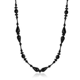 Naszyjnik perła czeska czarna 80cm - PER447