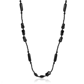 Naszyjnik perła czeska czarna 80cm - PER448