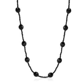 Naszyjnik perła czeska czarna 80cm - PER450