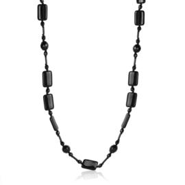 Naszyjnik perła czeska czarna 80cm - PER451