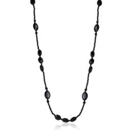 Naszyjnik perła czeska czarna 80cm - PER452