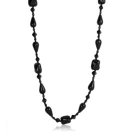 Naszyjnik perła czeska czarna 80cm - PER453