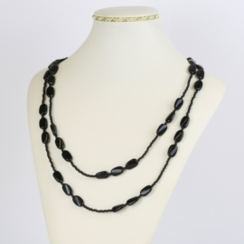 Naszyjnik perła czeska czarna 80cm - PER454