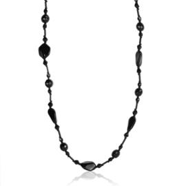 Naszyjnik perła czeska czarna 80cm - PER455