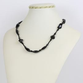 Naszyjnik perła czeska czarna 80cm - PER456
