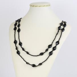 Naszyjnik perła czeska czarna 120cm - PER464