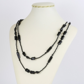 Naszyjnik perła czeska czarna 120cm - PER465