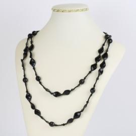 Naszyjnik perła czeska czarna 120cm - PER467