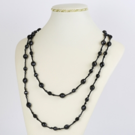 Naszyjnik perła czeska czarna 120cm - PER469
