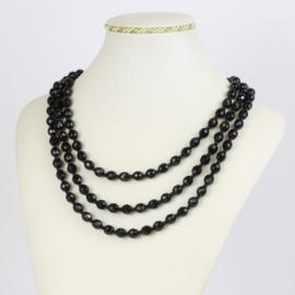 Naszyjnik perła czeska czarna 50cm - PER471