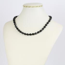 Naszyjnik perła czeska czarna 40cm - PER473