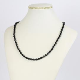 Naszyjnik perła czeska czarna 40cm - PER476