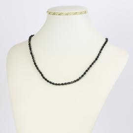 Naszyjnik perła czeska czarna 40cm - PER477