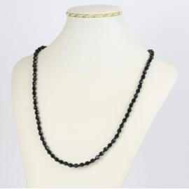 Naszyjnik perła czeska czarna 40cm - PER478