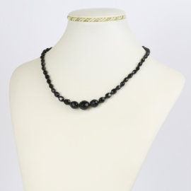 Naszyjnik perła czeska czarna 40cm - PER479