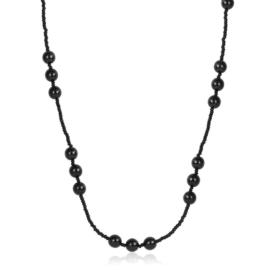 Naszyjnik perła czeska czarna 80cm - PER480