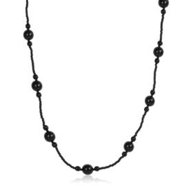 Naszyjnik perła czeska czarna 80cm - PER481