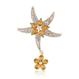 Broszka rozgwiazda - łosoś - 7cm BR496