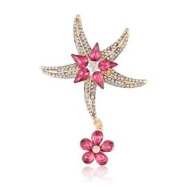 Broszka rozgwiazda - róż - 7cm BR499